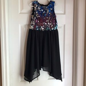 Multicolored sequins with a chiffon skirt